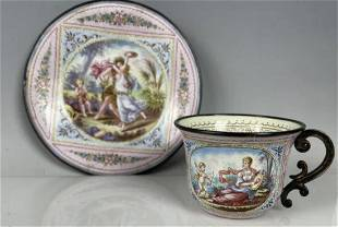 VIENNESE ENAMEL SILVER CUP AND SAUCER