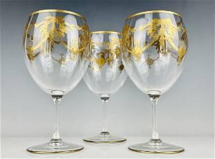 SET OF 3 GILT MOSER WINE GLASSES