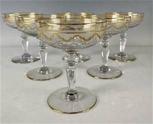 SET OF 6 MOSER ETCHED AND GILT CHAMPAGNE GLASSES