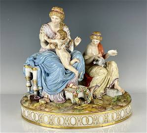 LARGE MEISSEN GROUP ENTITLED TAMING THE CUPID