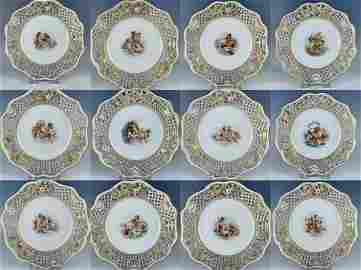 SET OF 12 RETICULATED MEISSEN PLATES
