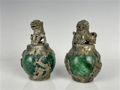 A PAIR OF CHINESE CLAD SILVER AND JADITE FOO DOGS