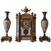 A TIFFANY CHAMPLEVÉ ENAMEL AND SEVRES PORCELAIN CLOCK
