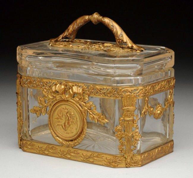 A BACCARAT GLASS AND ORMOLU BOX