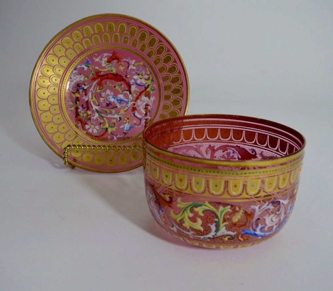 A 19TH CENTURY ENAMELED MOSER FINGER BOWL AND PLATE