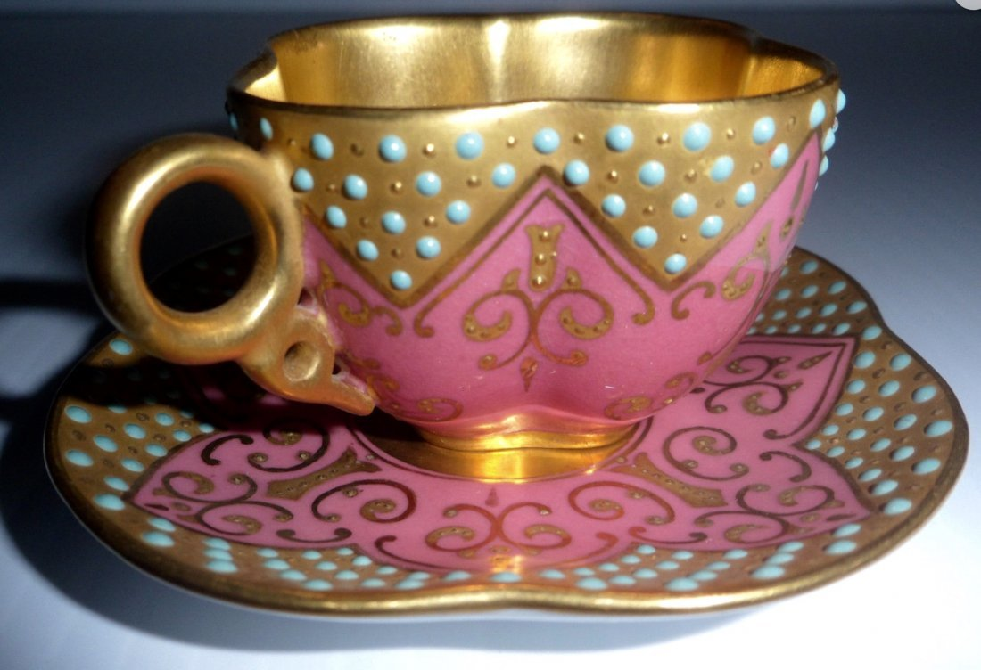 19TH CENTURY JEWELED COALPORT CUP AND SAUCER
