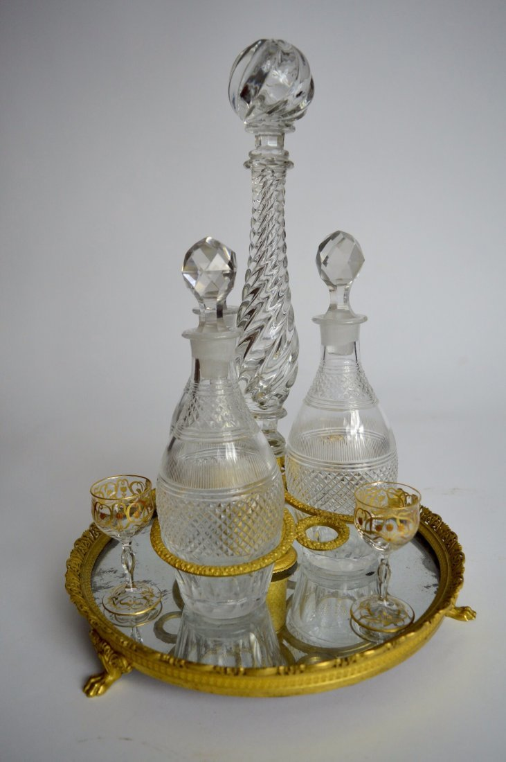19TH CENTURY EMPIRE STYLE ORMOLU AND BACCARAT TANTALUS