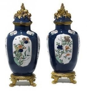 Pair Of 19th C. Ormolu Mounted Chinese Porcelain Vases