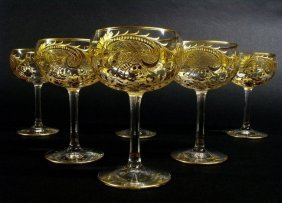 Set Of 6 Moser Wine Glasses