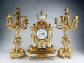 A Very Fine French Dore Bronze And Marble Clock Set