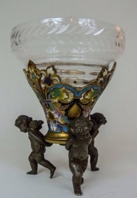 19th Century Champleve Enamel And Glass Vase