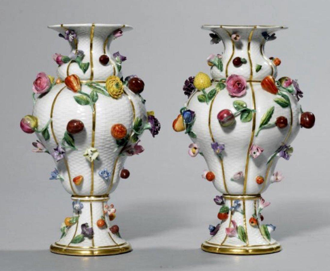 A PAIR OF 19TH CENTURY FLOWER ENCRUSTED MEISSEN VASES
