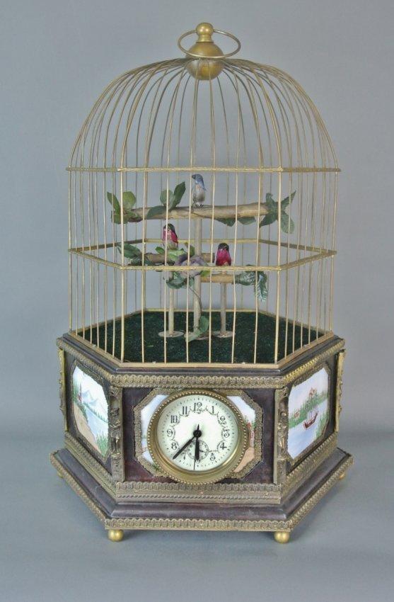 LARGE ENAMEL AUTOMATON SINGING BIRD CAGE CLOCK