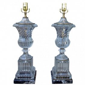 A Pair Of Crystal Lamps Atributed To Baccarat
