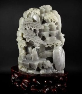 A Large Chinese White Jade Carving