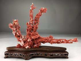 A Large Chinese Deep Red Coral Carving