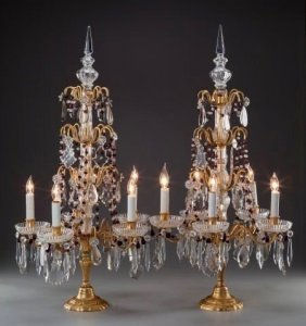 Pair Of Baccarat-style Cut Glass And Dore Bronze Lamps