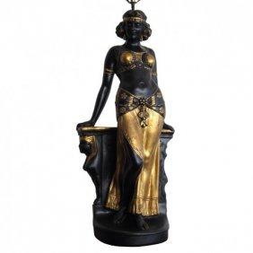 An Egyptian Revival Ceramic Lamp