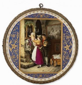 A Large Antique Royal Vienna Style Porcelain Plaque