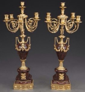 A Pair Of Ormolu And Rouges Marble Candelabra