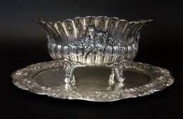 19TH C. GERMAN SILVER BOWL AND UNDER TRAY