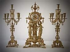 A 19TH CENTURY GILT BRONZE FIGURAL CLOCK SET