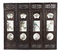 SET OF FOUR CHINESE PORCELAIN AND HARDWOOD PANELS