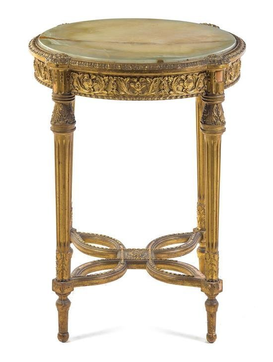 19TH CENTURY ONYX TOP GUILTWOOD GUERIDON