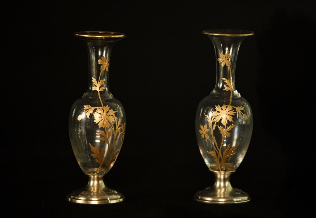 PAIR OF SILVER MOUNTED BACCARAT VASES