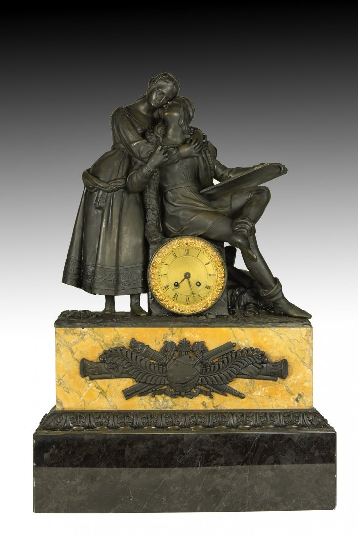 19TH C.  FRENCH EMPIRE STYLE BRONZE AND MARBLE CLOCK