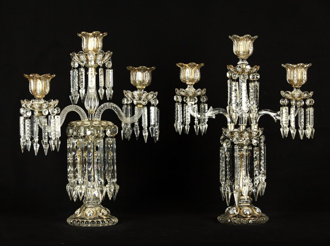 A NEAR PAIR OF BACCARAT 3 LIGHT CANDELABRA
