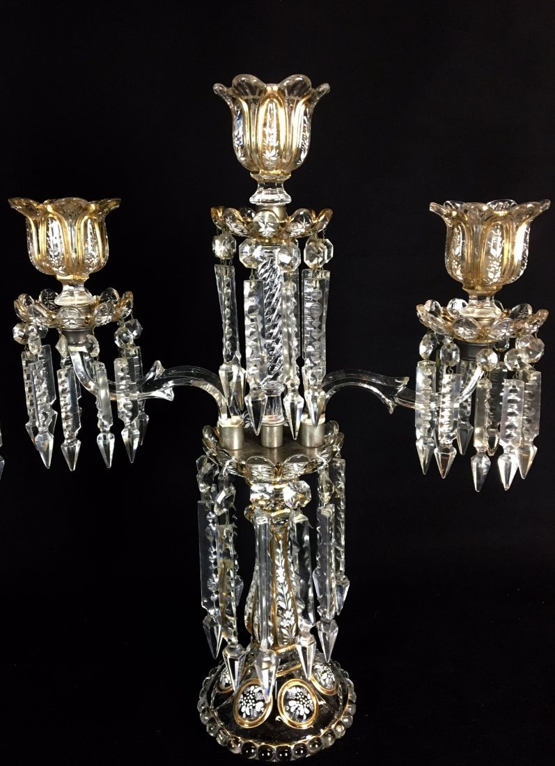 A NEAR PAIR OF BACCARAT 3 LIGHT CANDELABRA - 2