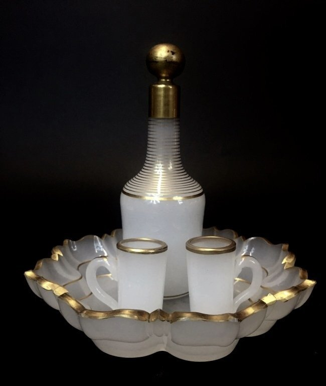 19TH CENTURY BACCARAT OPALINE GLASS LIQUOR SET
