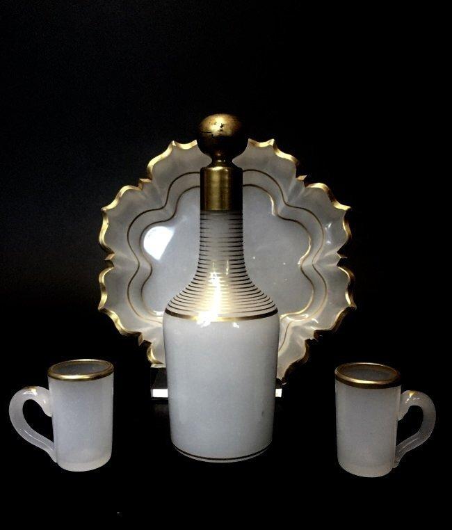 19TH CENTURY BACCARAT OPALINE GLASS LIQUOR SET - 2