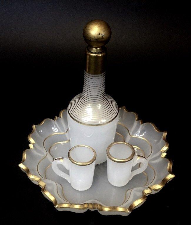 19TH CENTURY BACCARAT OPALINE GLASS LIQUOR SET - 3