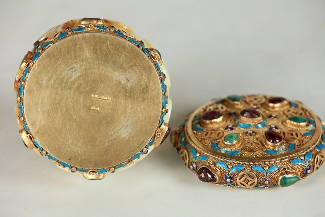 A CHINESE SILVER GILT ENAMEL AND JADE BOX - 4
