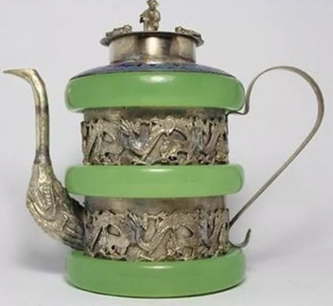 CHINESE SILVER AND JADE TEA POT