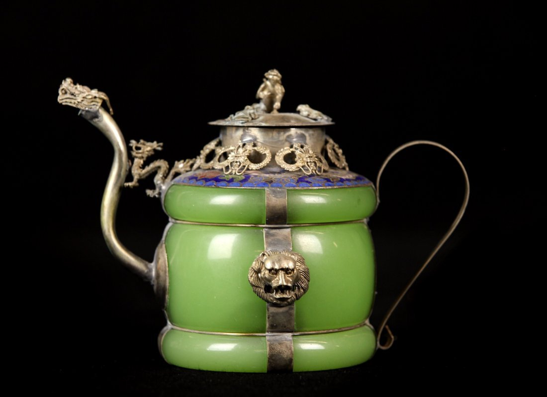 CHINESE ENAMELED SILVER AND JADE TEA POT