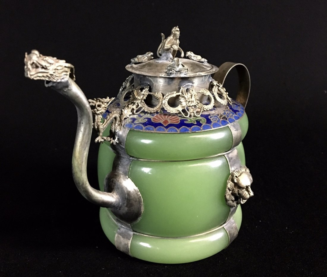 CHINESE ENAMELED SILVER AND JADE TEA POT - 2