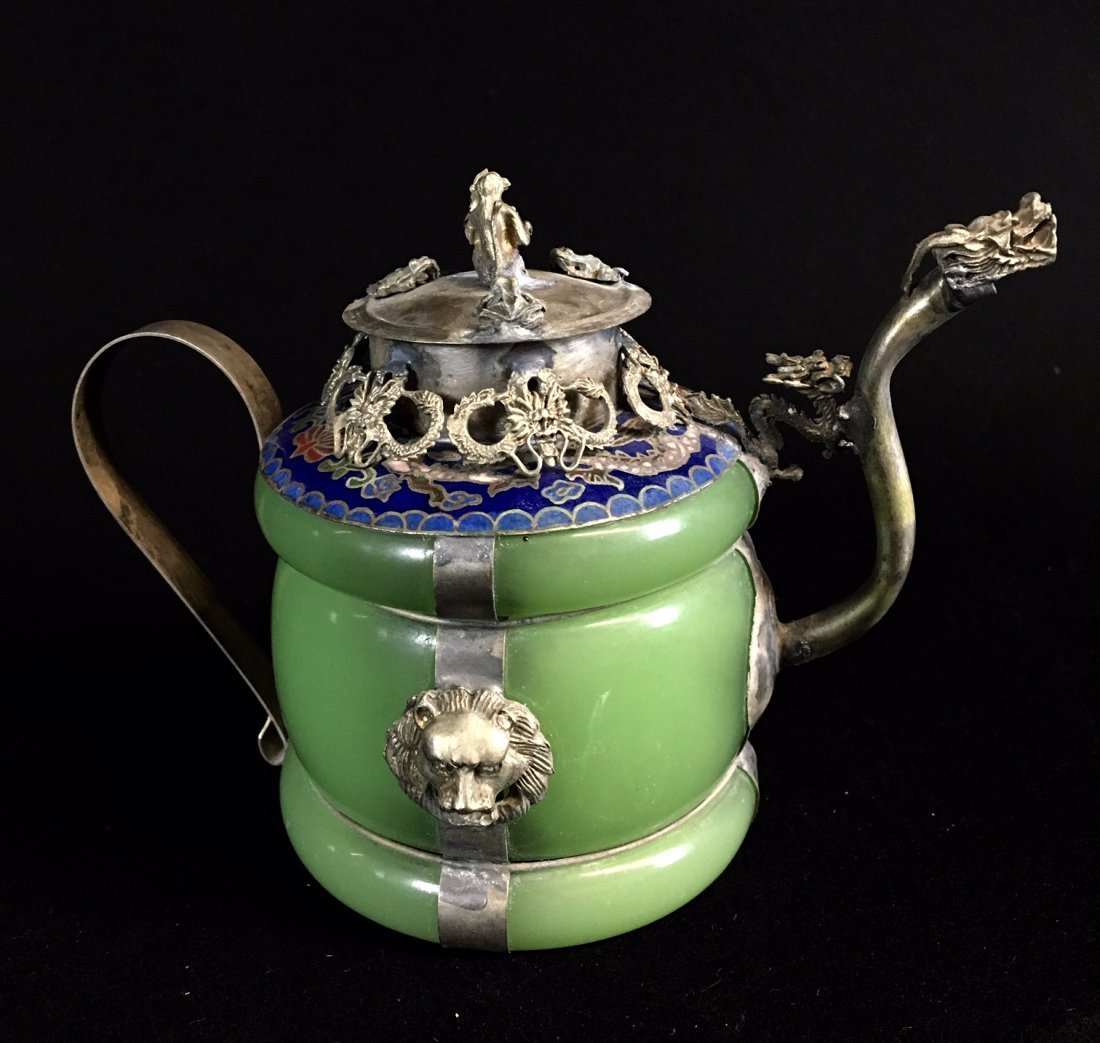 CHINESE ENAMELED SILVER AND JADE TEA POT - 3