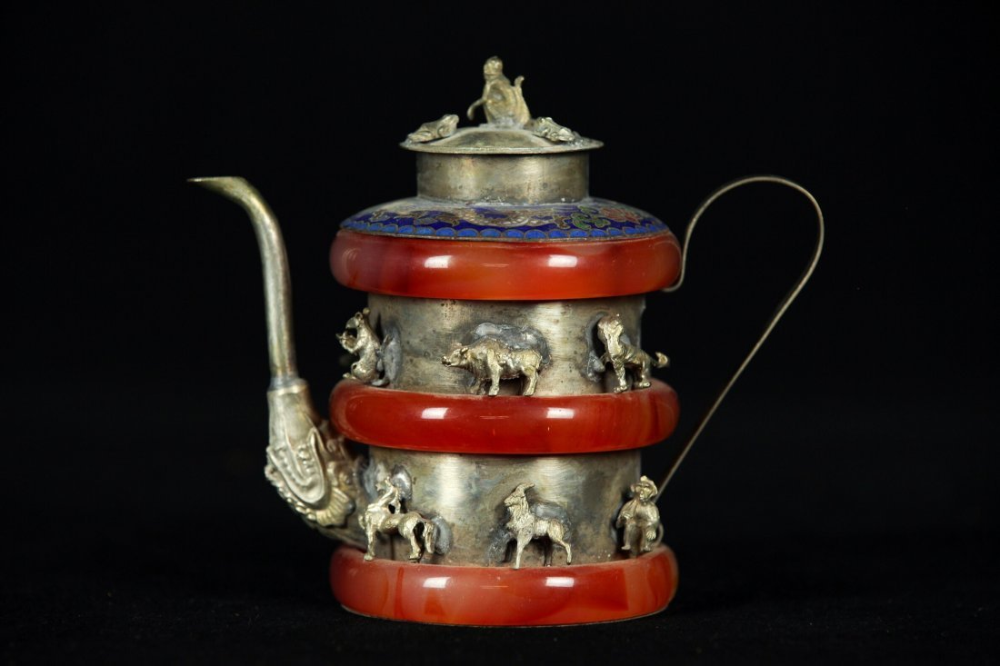 CHINESE SILVER AND ENAMEL TEA POT