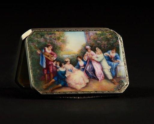19TH CENTURY AUSTRIAN STERLING SILVER ENAMEL BOX