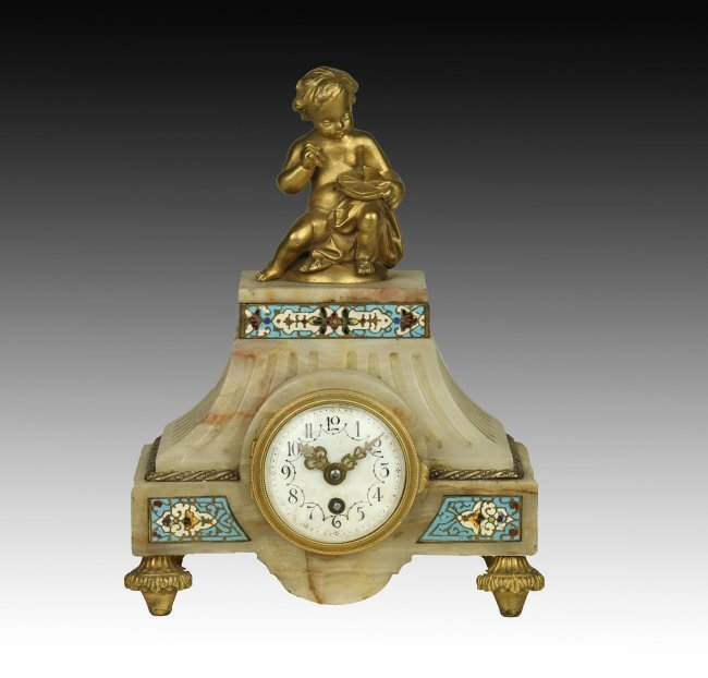 19TH CENTURY FRENCH CHAMPLEVE ENAMEL CLOCK SET - 2
