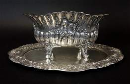 19TH C. GERMAN SILVER BOWL AND TRAY