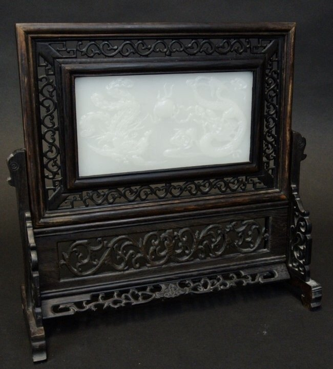 CHINESE WHITE JADE AND CARVED WOOD TABLE SCREEN. - 2