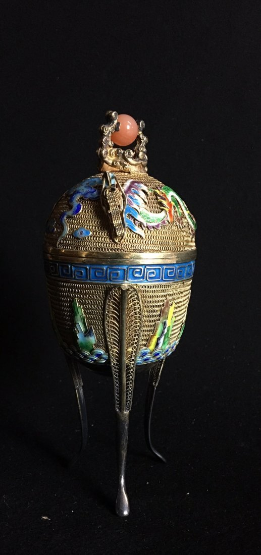 CHINESE GOLD OVER SILVER AND ENAMEL TEA CADDY