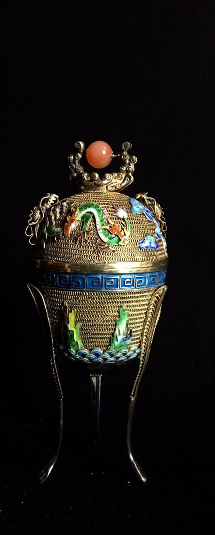 CHINESE GOLD OVER SILVER AND ENAMEL TEA CADDY - 2
