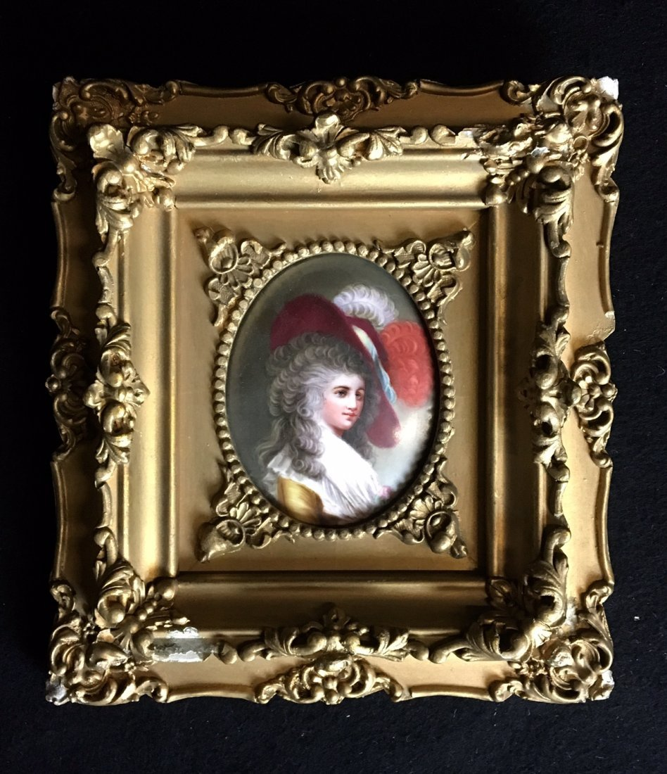 19TH CENTURY GERMAN PORCELAIN PLAQUE WITH GILTWOOD FRAM