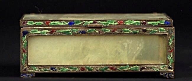 CHINESE SILVER ENAMEL AND JADE BOX