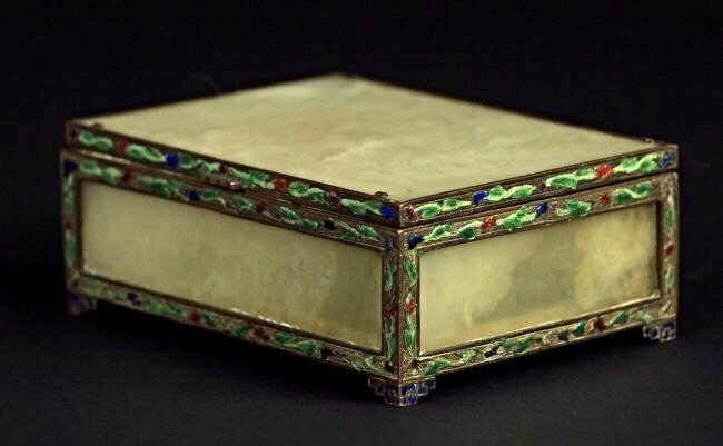 CHINESE SILVER ENAMEL AND JADE BOX - 2